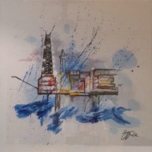 Oil Platform in a Squall